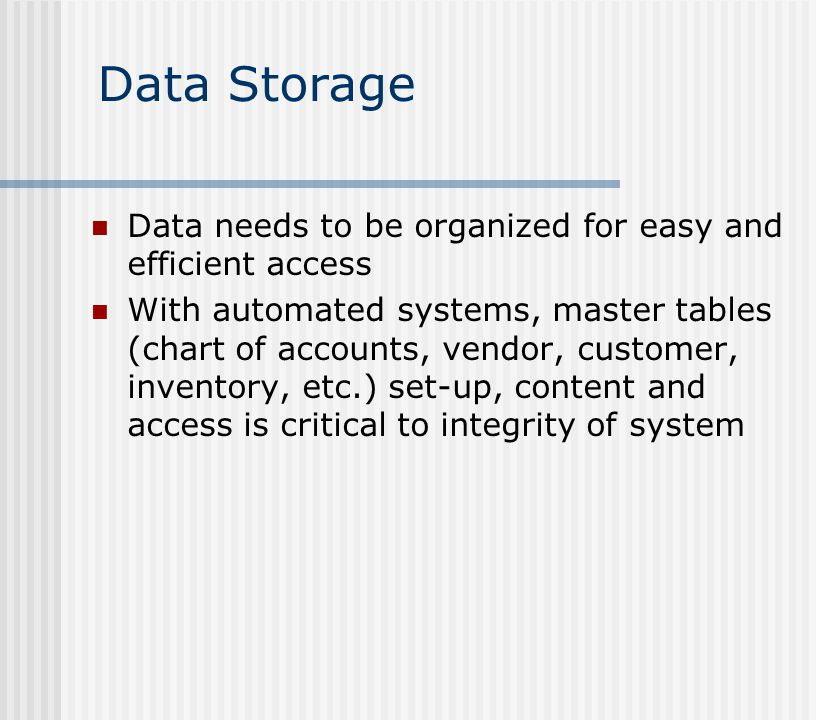 Data Storage Data needs to be organized for easy and efficient access