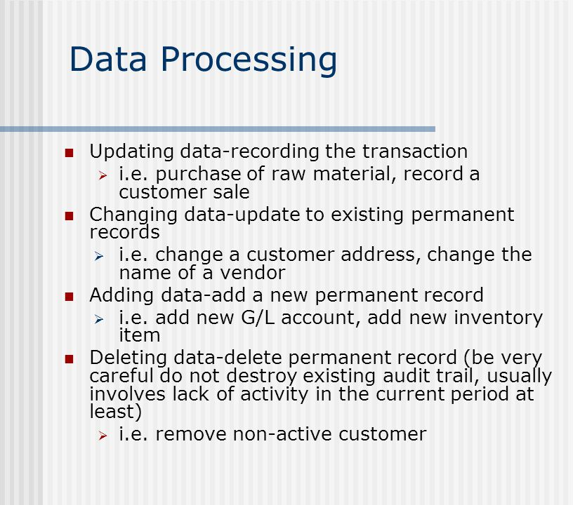 Data Processing Updating data-recording the transaction