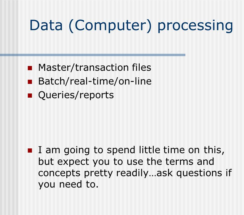 Data (Computer) processing