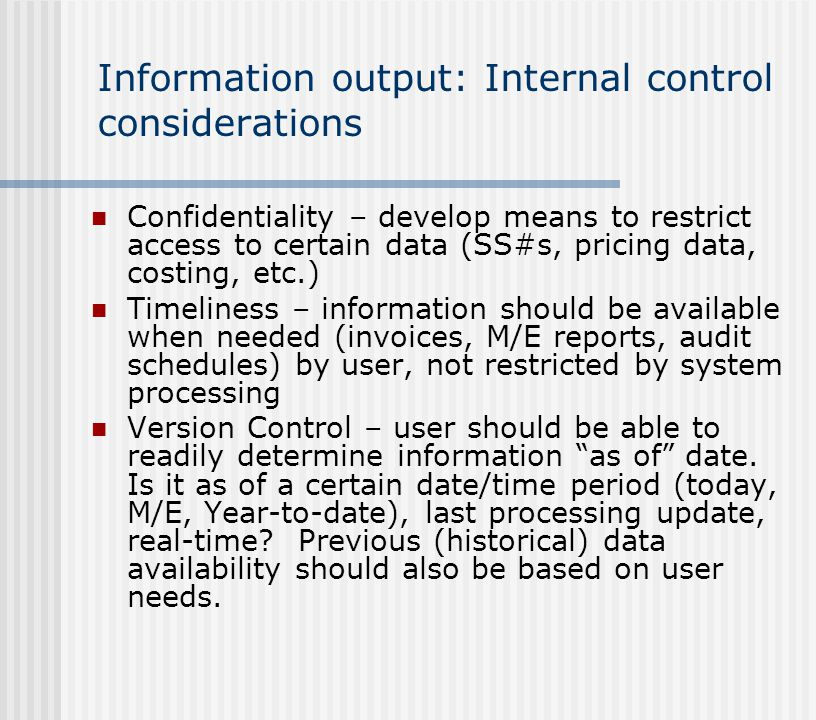 Information output: Internal control considerations