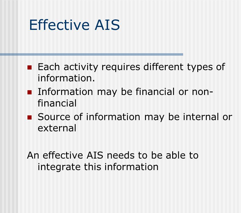 Effective AIS Each activity requires different types of information.