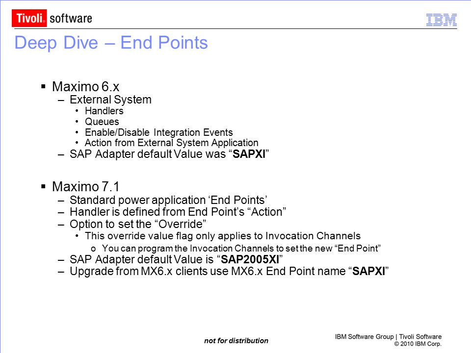 Deep Dive – End Points Maximo 6.x Maximo 7.1 External System