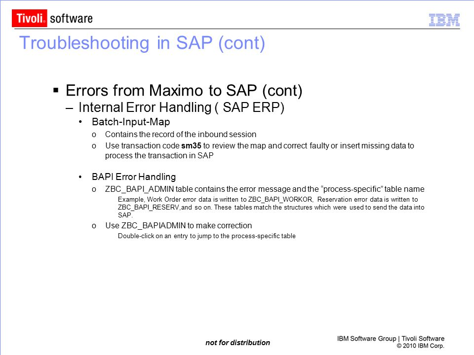 Troubleshooting in SAP (cont)