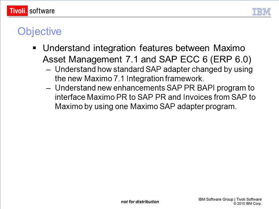 Objective Understand integration features between Maximo Asset Management 7.1 and SAP ECC 6 (ERP 6.0)