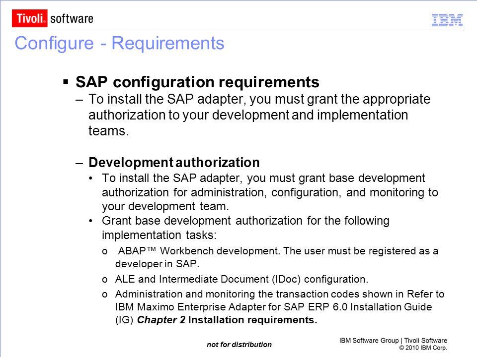 Configure - Requirements