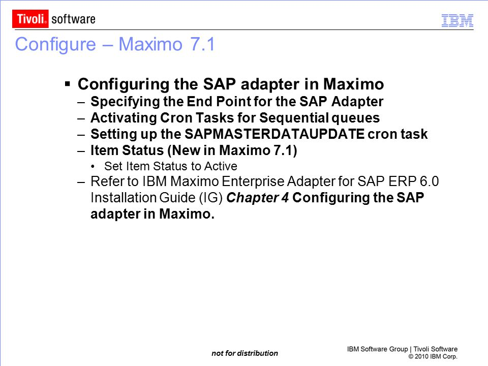 Configure – Maximo 7.1 Configuring the SAP adapter in Maximo