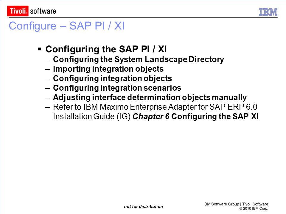 Configure – SAP PI / XI Configuring the SAP PI / XI