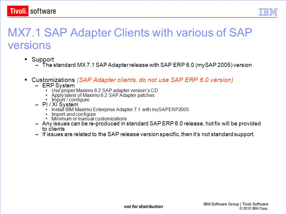 MX7.1 SAP Adapter Clients with various of SAP versions