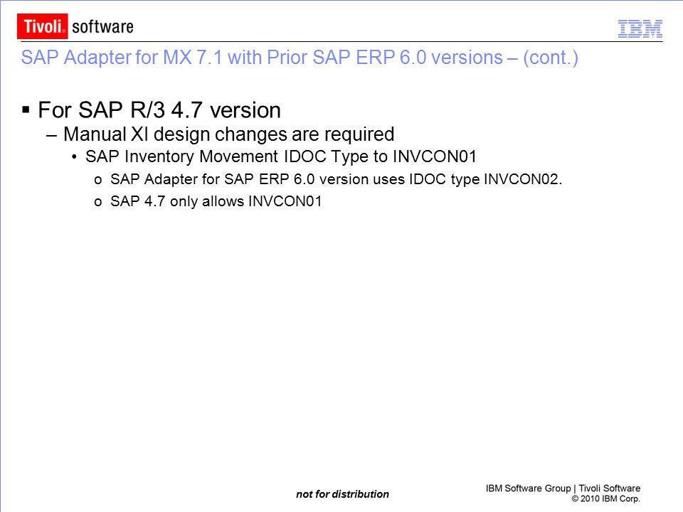 SAP Adapter for MX 7.1 with Prior SAP ERP 6.0 versions – (cont.)