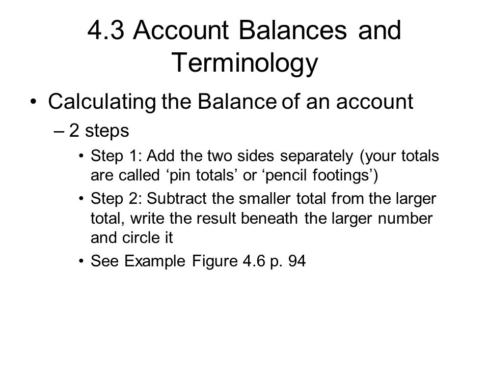 4.3 Account Balances and Terminology