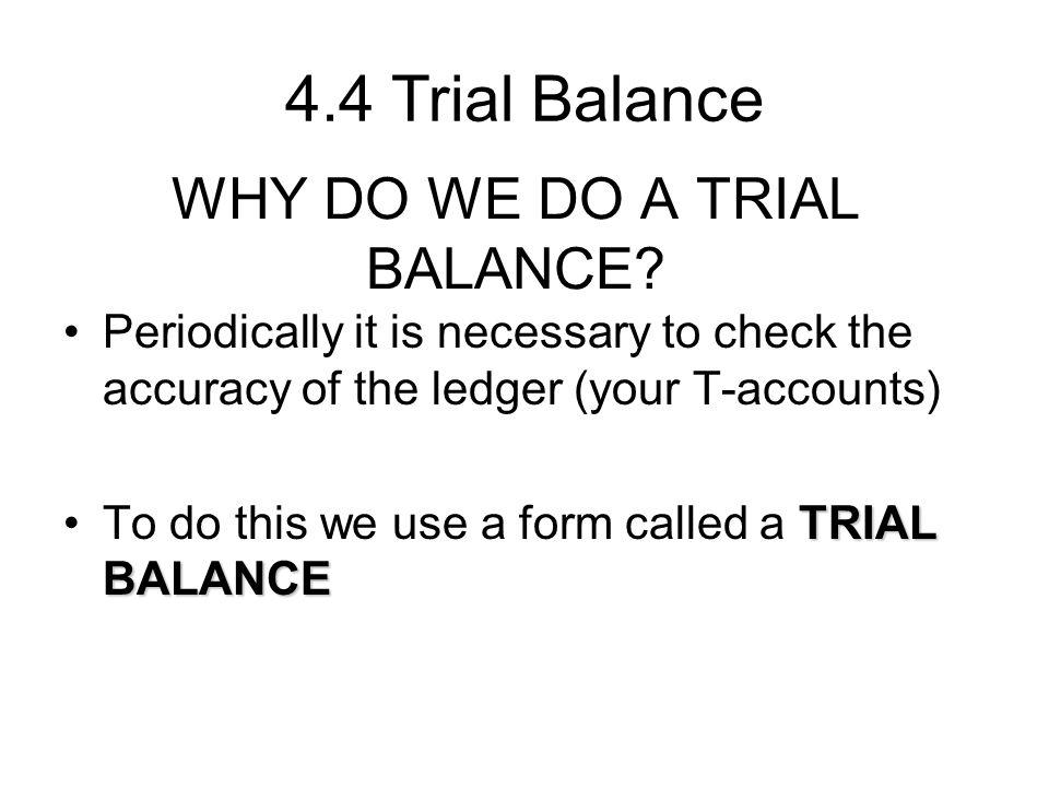 WHY DO WE DO A TRIAL BALANCE
