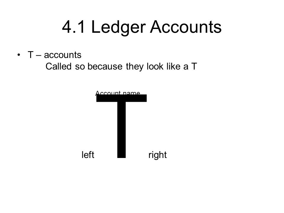 4.1 Ledger Accounts T – accounts Called so because they look like a T