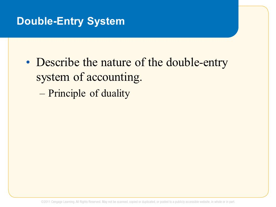 Double entry system of accounting follows the principle of