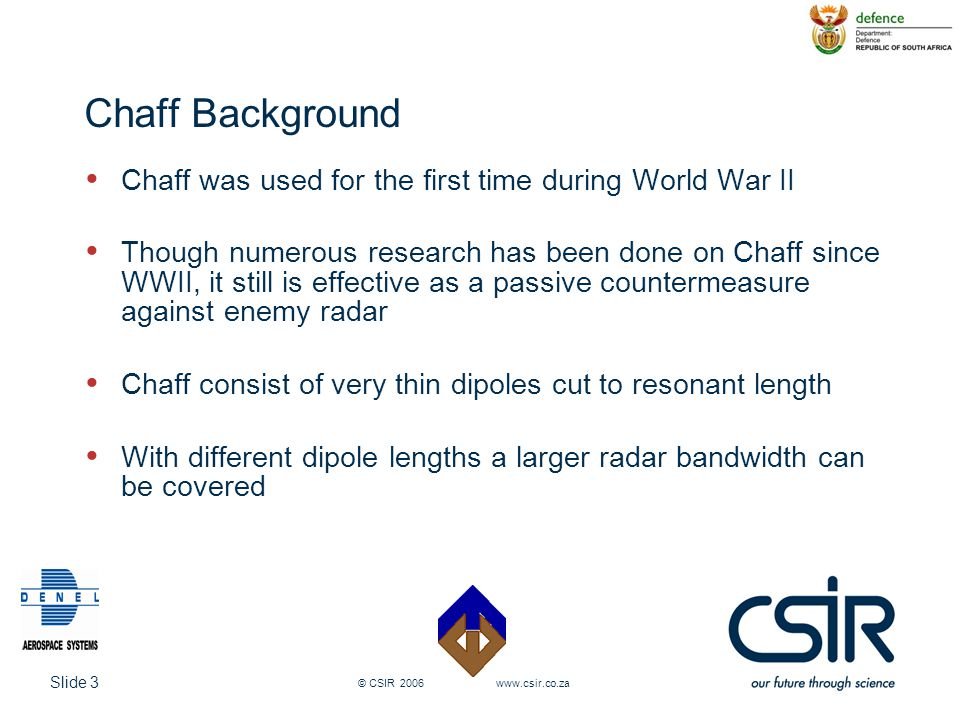 Chaff Background Chaff was used for the first time during World War II