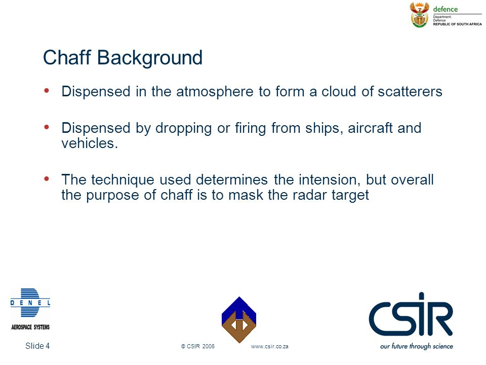 Chaff Background Dispensed in the atmosphere to form a cloud of scatterers. Dispensed by dropping or firing from ships, aircraft and vehicles.