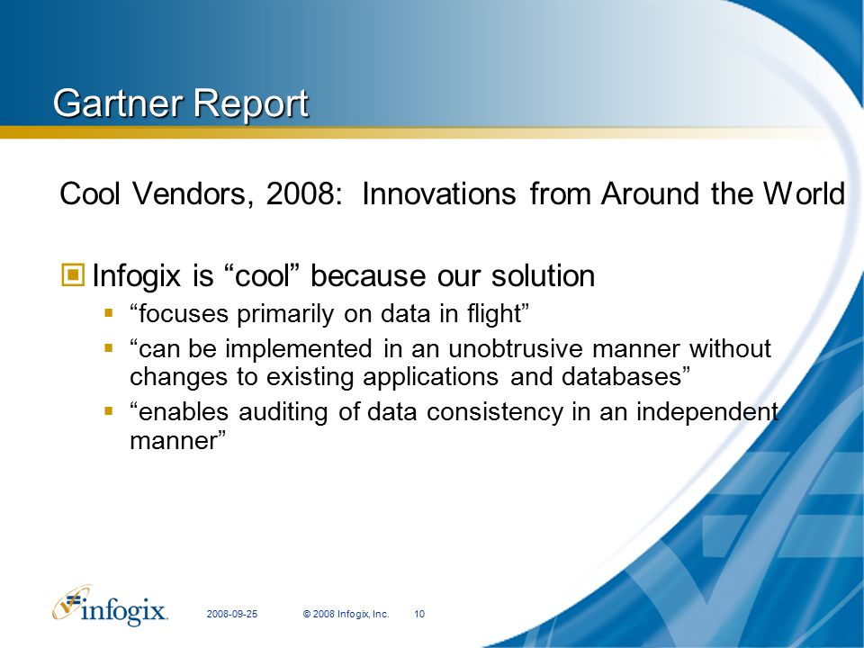Gartner Report Cool Vendors, 2008: Innovations from Around the World