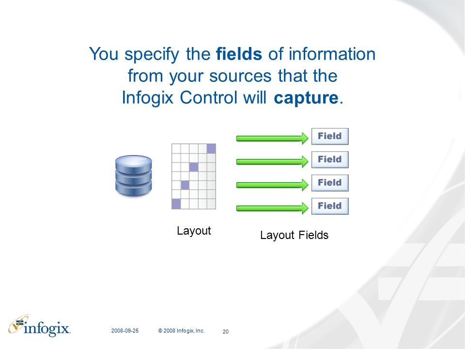 CFIT Presentation 2008-09-25. You specify the fields of information from your sources that the Infogix Control will capture.