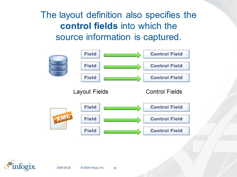 CFIT Presentation 2008-09-25. The layout definition also specifies the control fields into which the source information is captured.