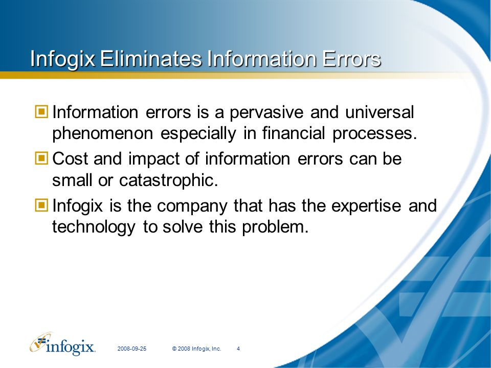 Infogix Eliminates Information Errors