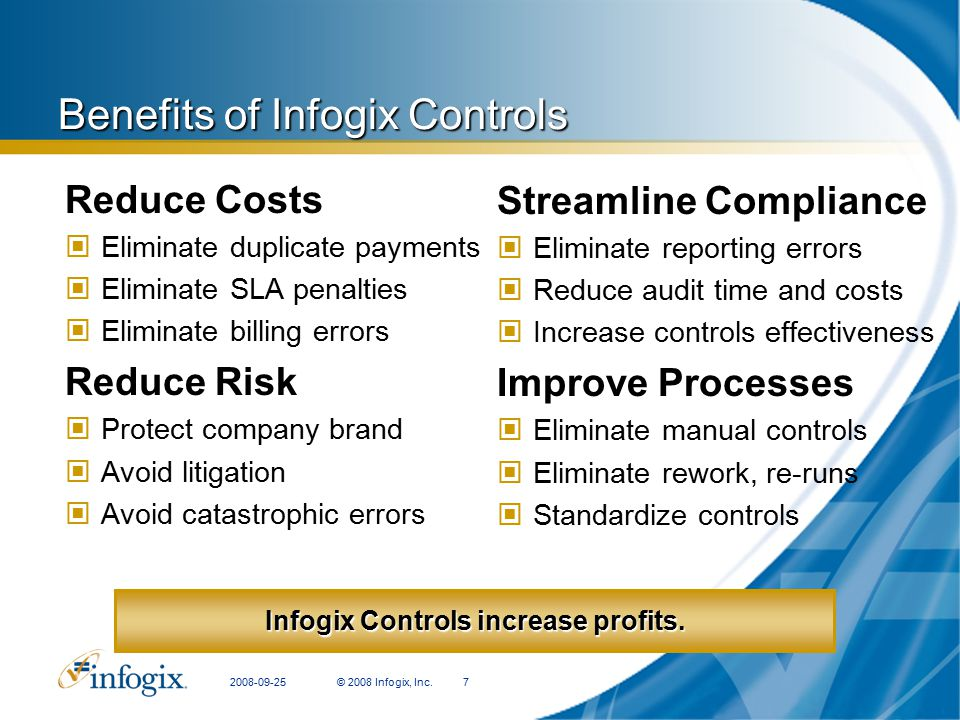 Benefits of Infogix Controls