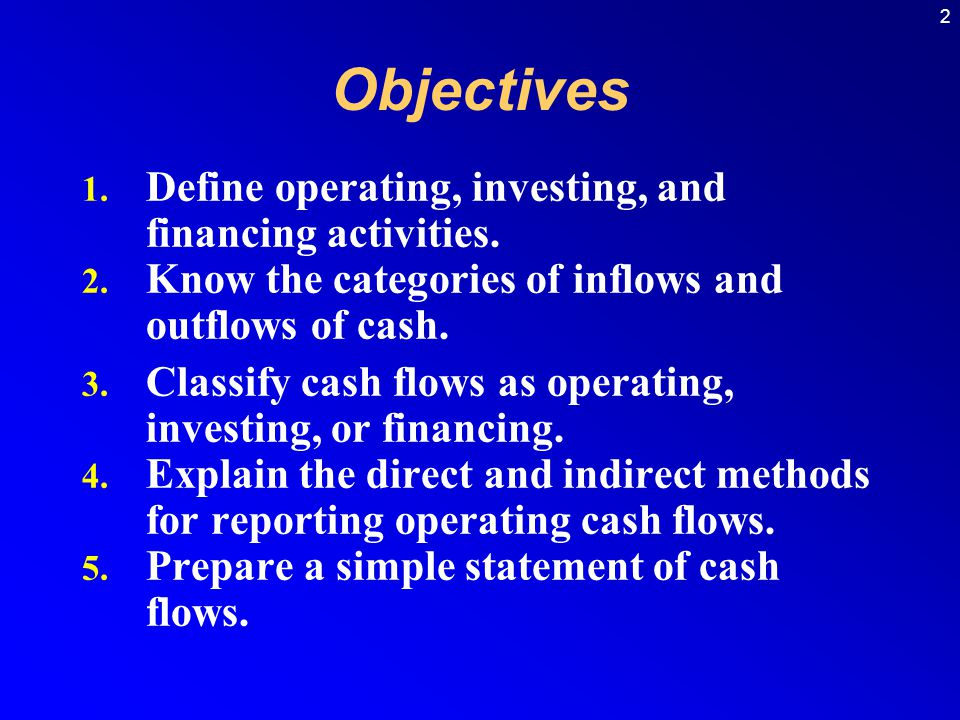 Objectives Define operating, investing, and financing activities.