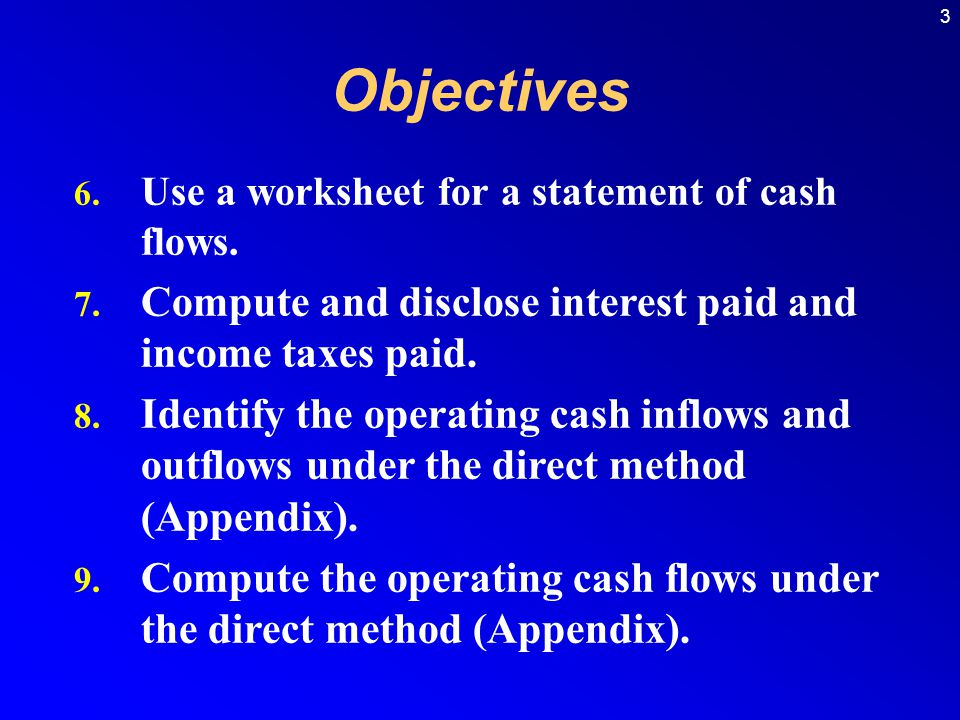 Objectives Compute and disclose interest paid and income taxes paid.