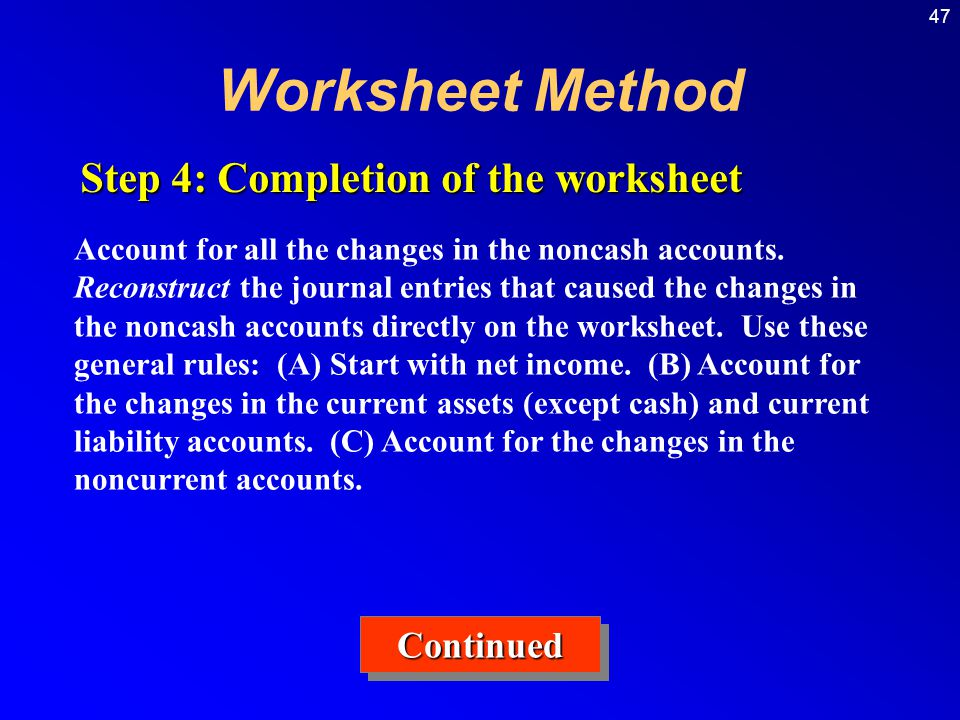 Worksheet Method Step 4: Completion of the worksheet Continued