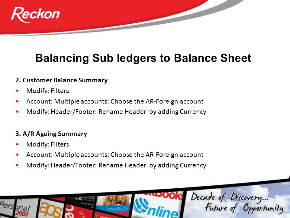 Balancing Sub ledgers to Balance Sheet