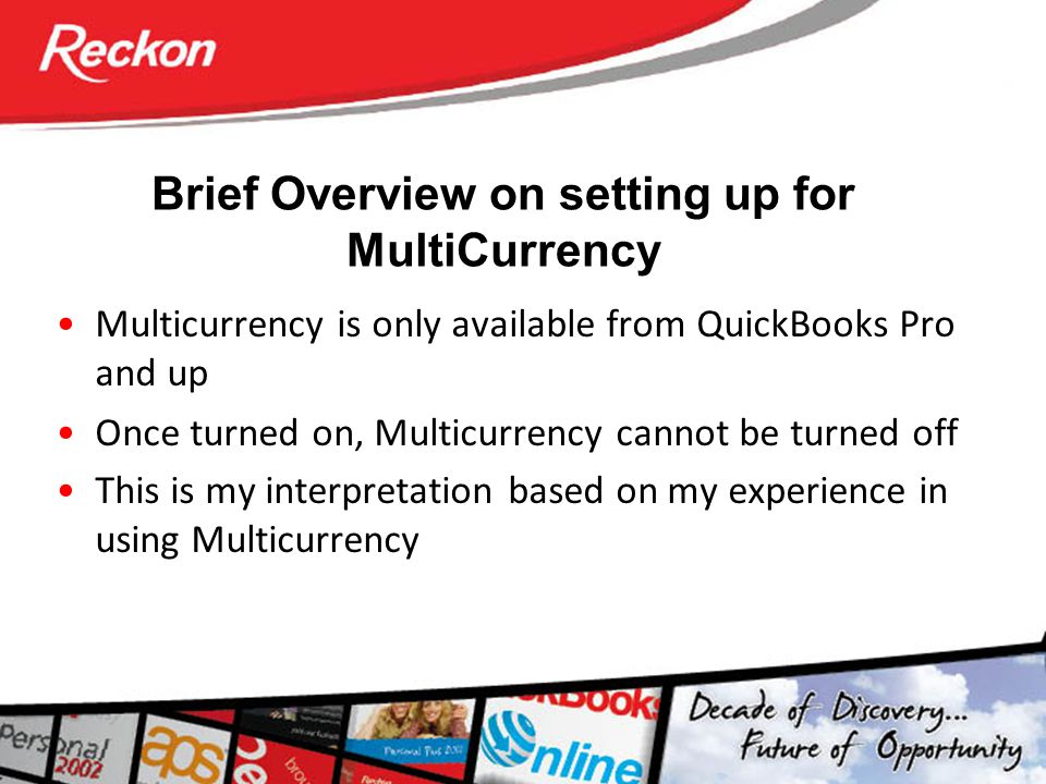 Brief Overview on setting up for MultiCurrency