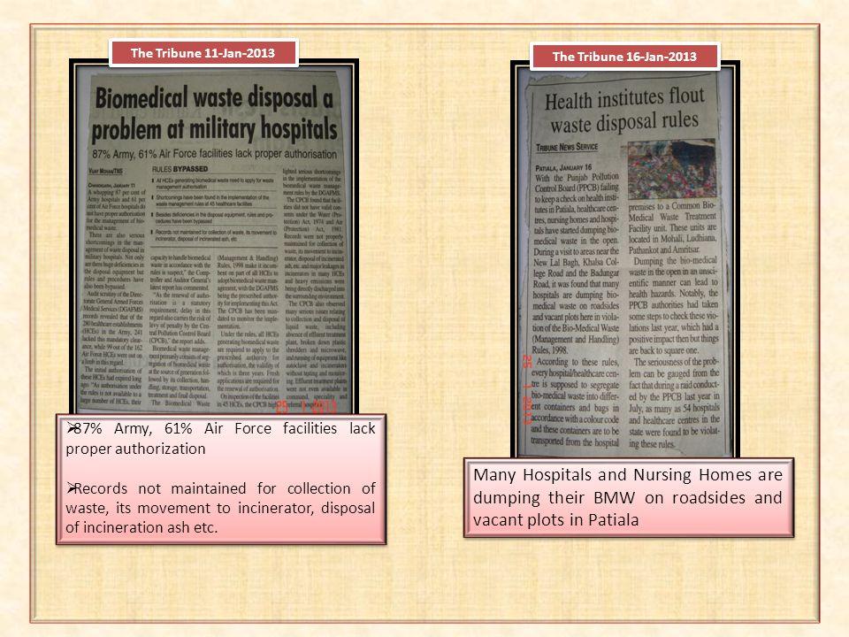 The Tribune 11-Jan-2013 The Tribune 16-Jan-2013. 87% Army, 61% Air Force facilities lack proper authorization.