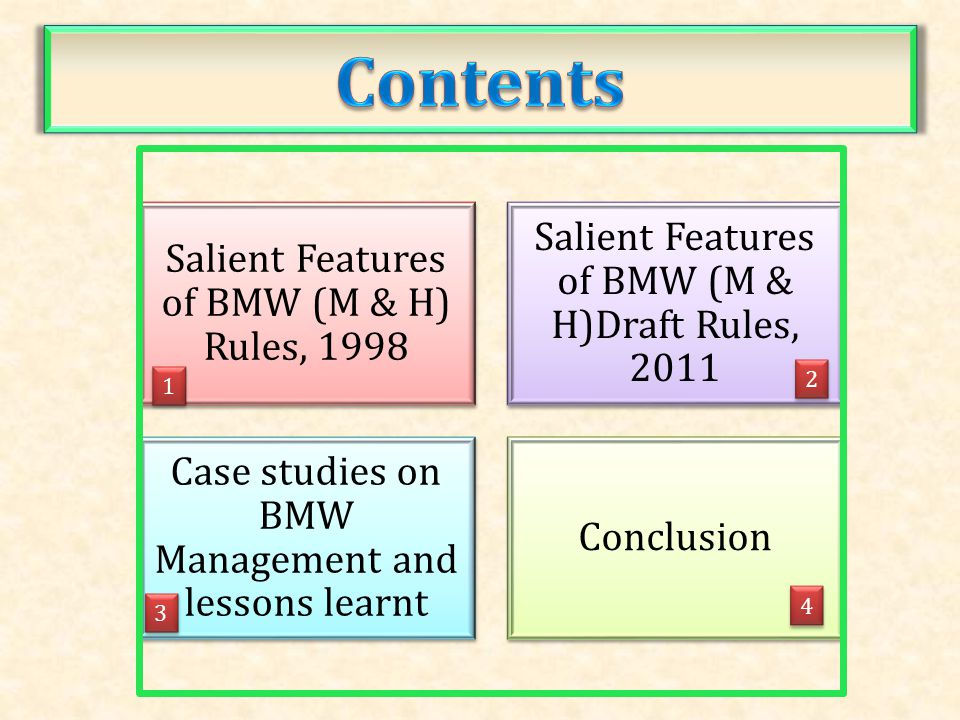 Contents Salient Features of BMW (M & H)Draft Rules, 2011
