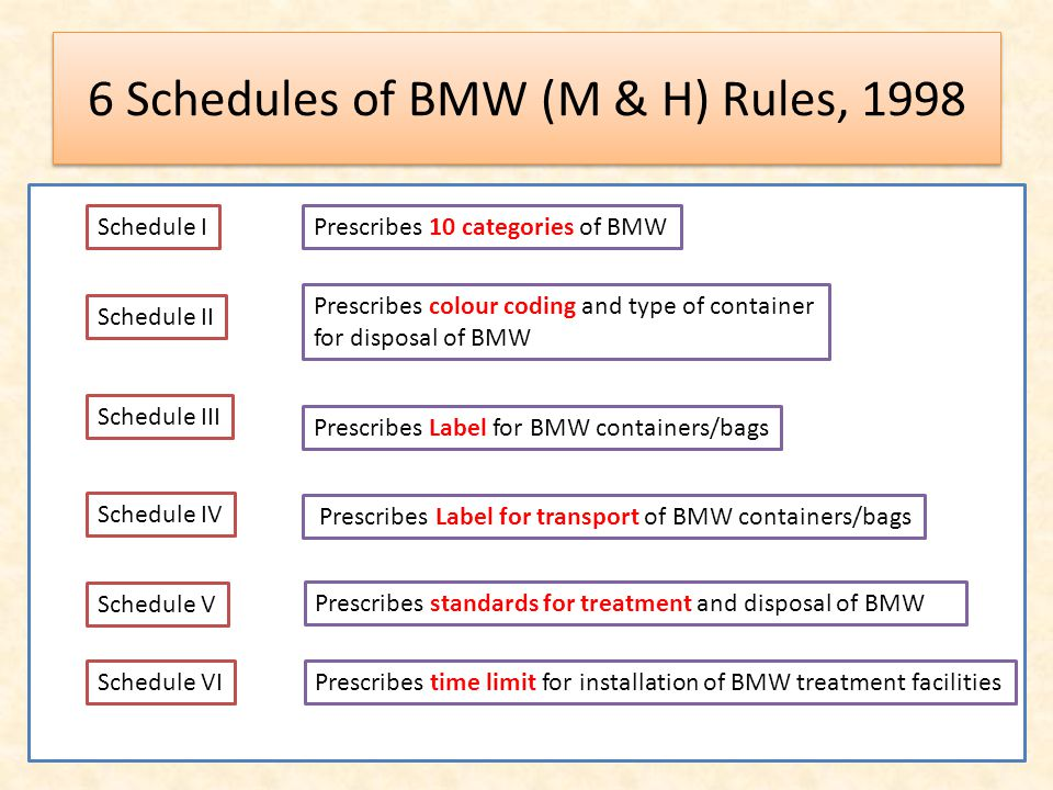 6 Schedules of BMW (M & H) Rules, 1998