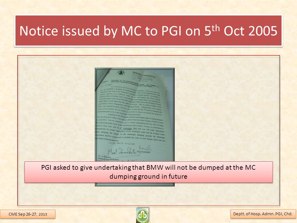 Notice issued by MC to PGI on 5th Oct 2005