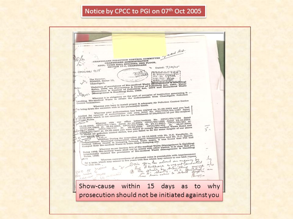 Notice by CPCC to PGI on 07th Oct 2005