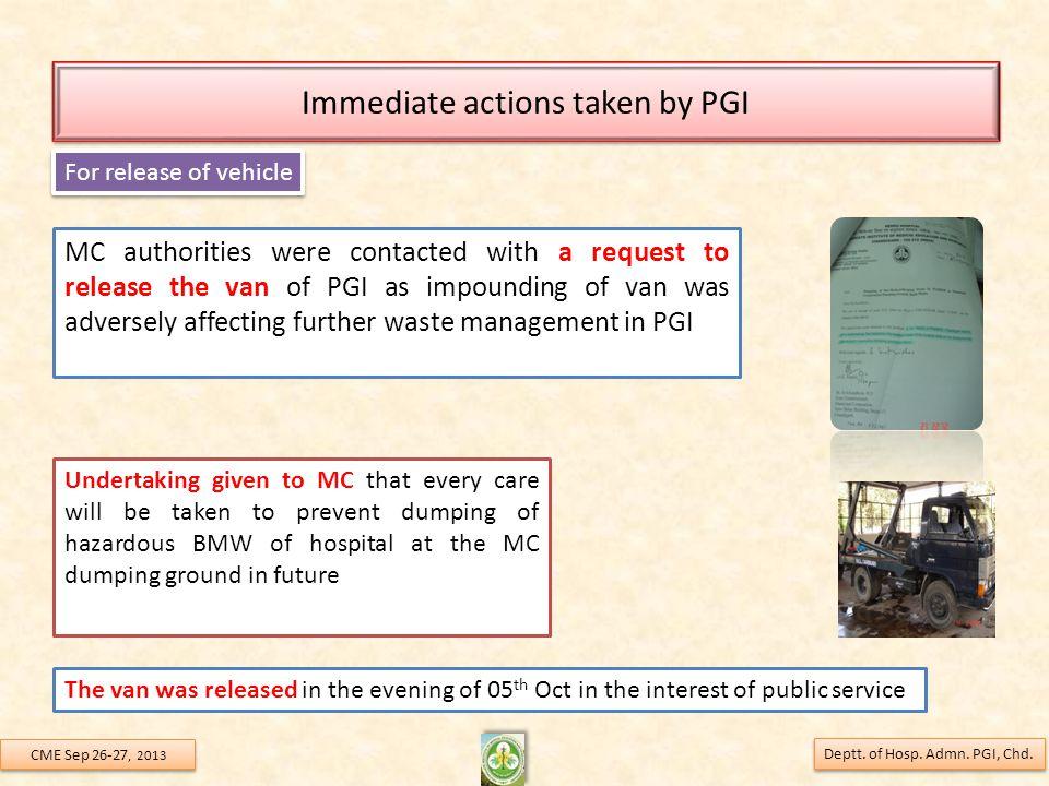 Immediate actions taken by PGI