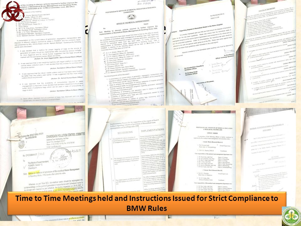 Scan of some circulars Time to Time Meetings held and Instructions Issued for Strict Compliance to BMW Rules.