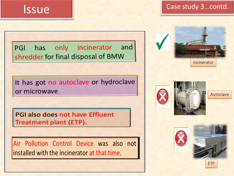 Issue PGI has only incinerator and shredder for final disposal of BMW