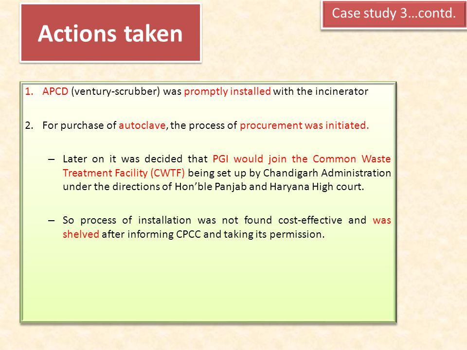 Actions taken Case study 3…contd.