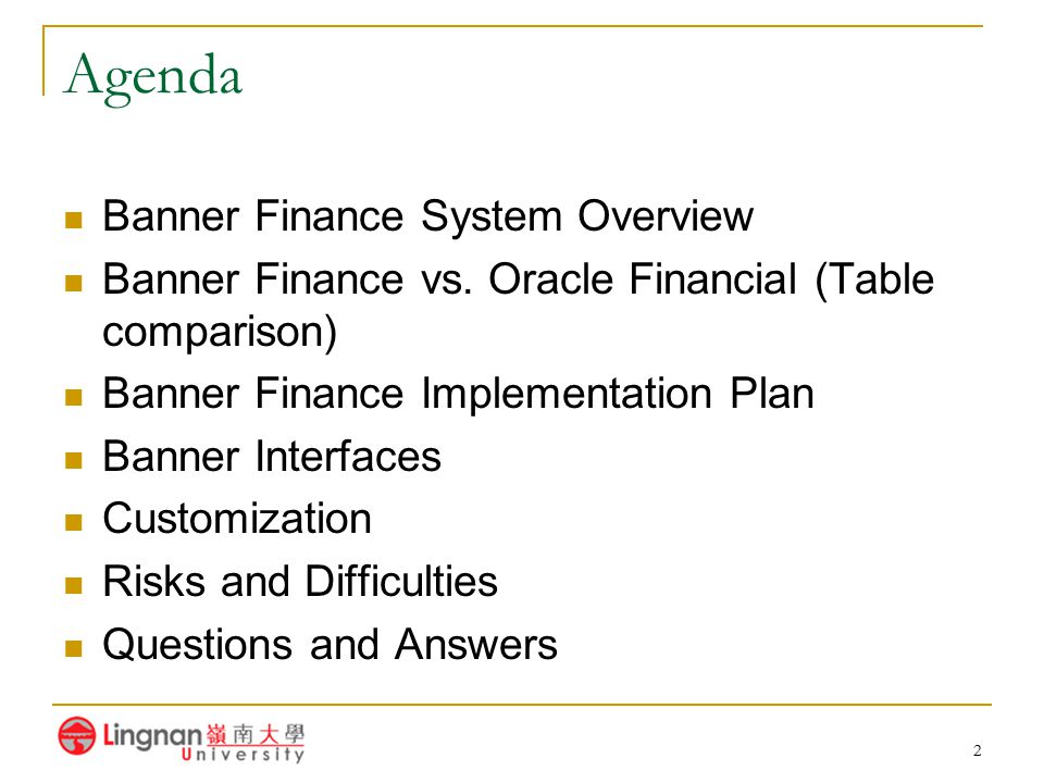 Agenda Banner Finance System Overview