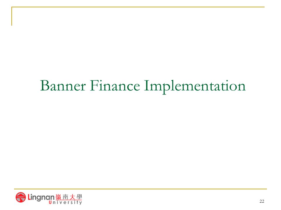 Banner Finance Implementation