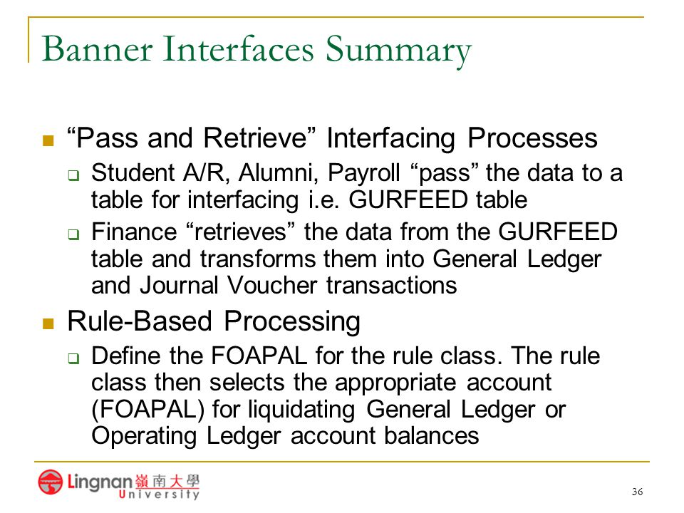Banner Interfaces Summary