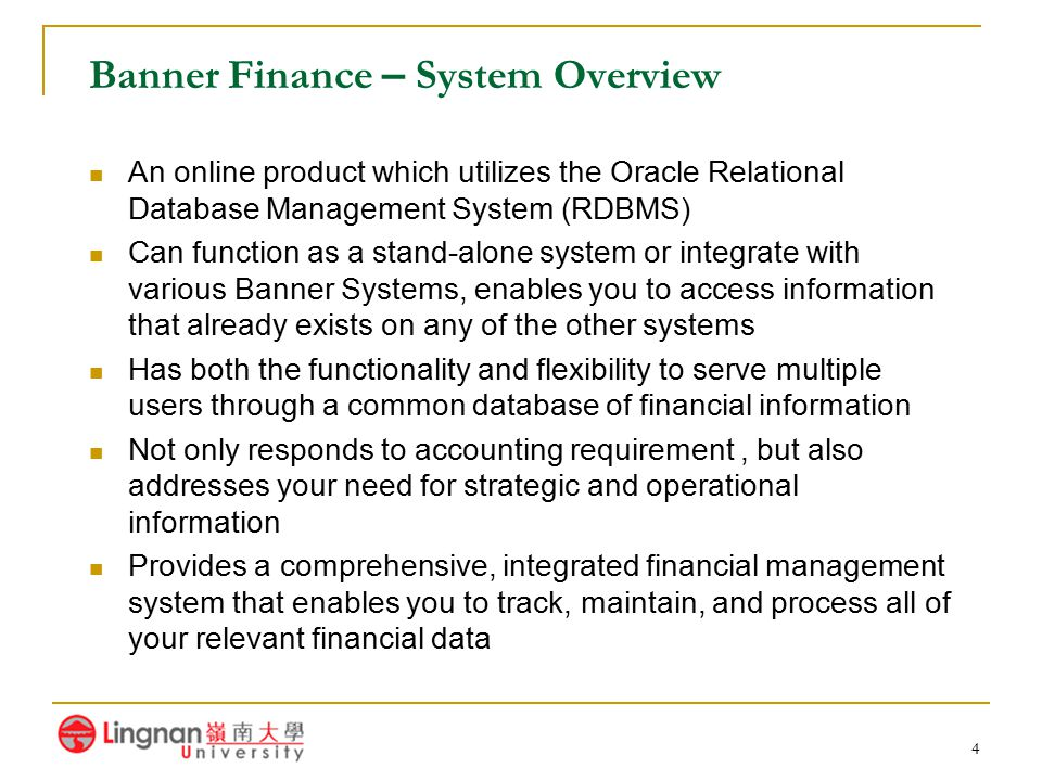 Banner Finance – System Overview