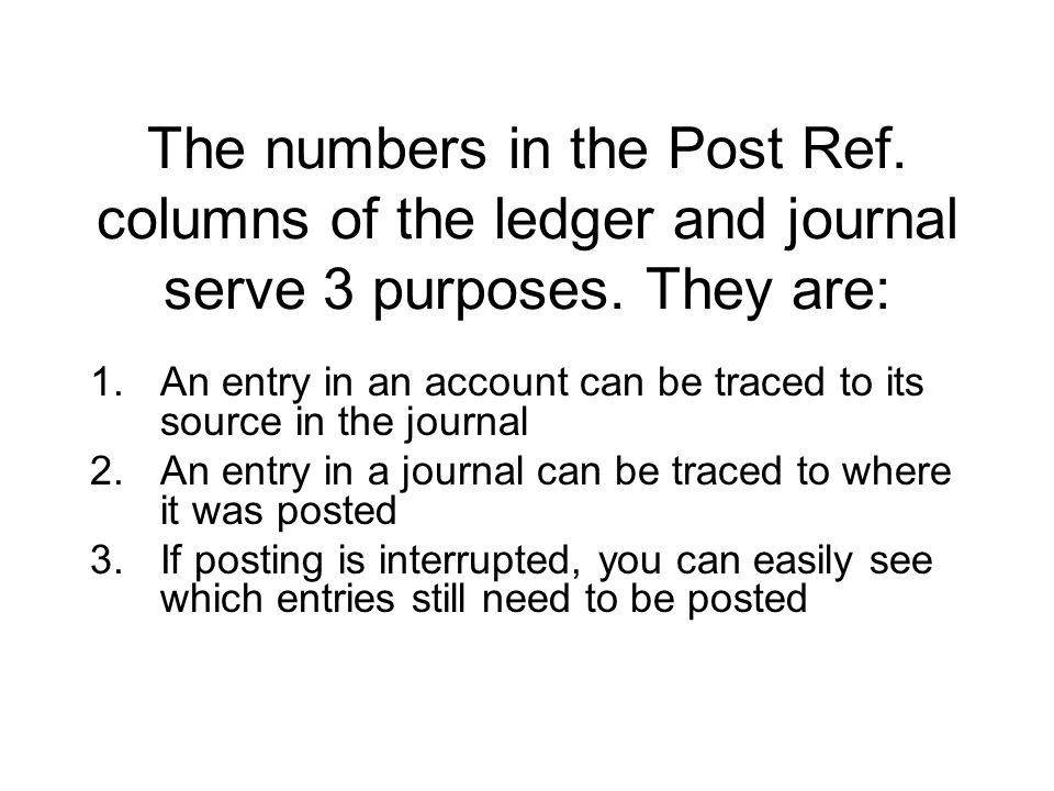 The numbers in the Post Ref