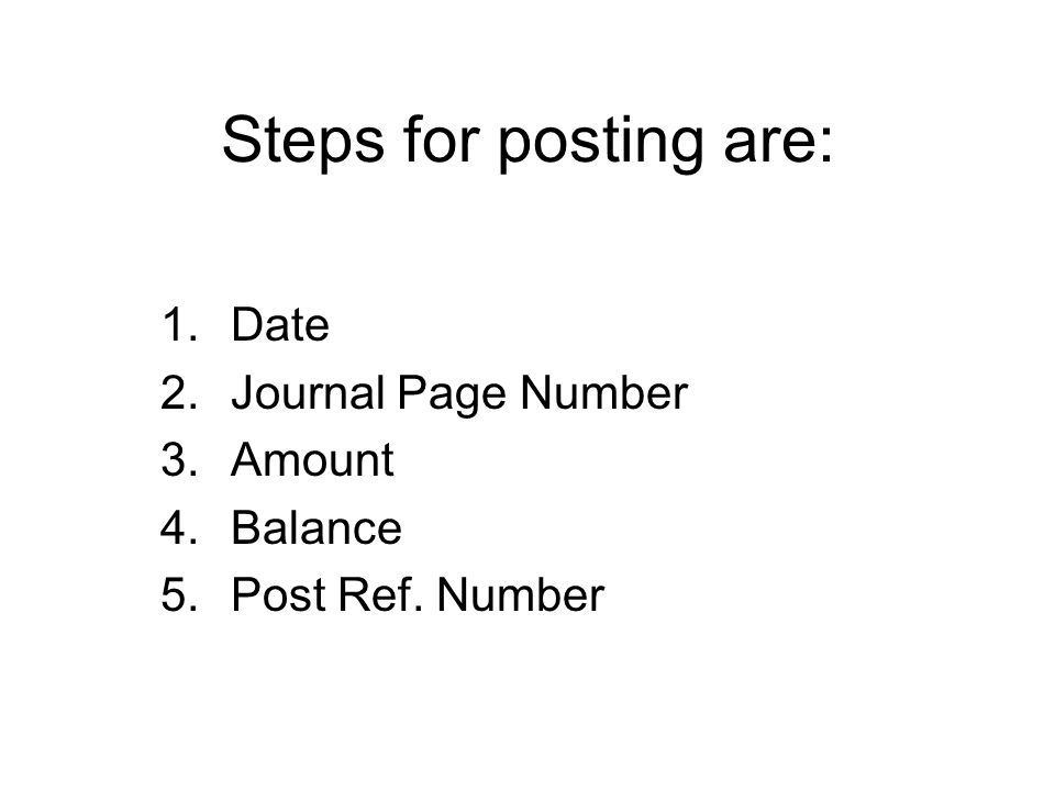 Date Journal Page Number Amount Balance Post Ref. Number