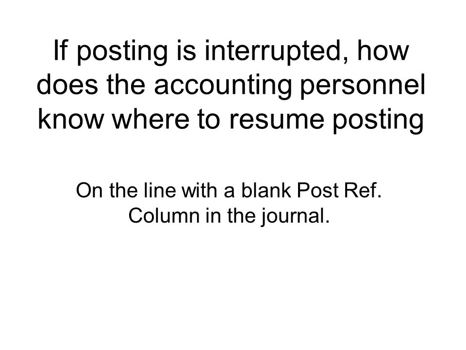 On the line with a blank Post Ref. Column in the journal.