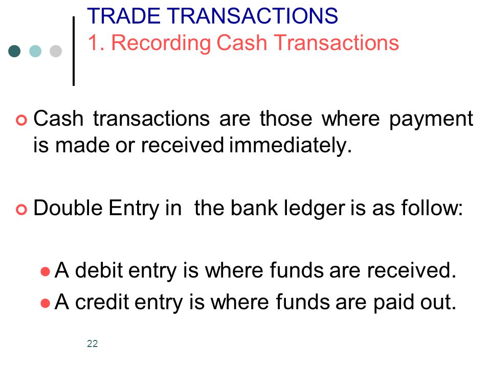 TRADE TRANSACTIONS 1. Recording Cash Transactions