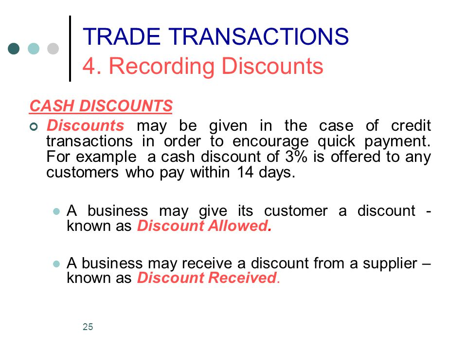 TRADE TRANSACTIONS 4. Recording Discounts