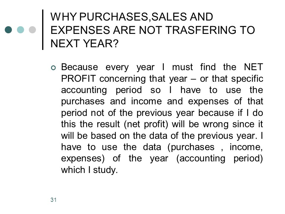 WHY PURCHASES,SALES AND EXPENSES ARE NOT TRASFERING TO NEXT YEAR