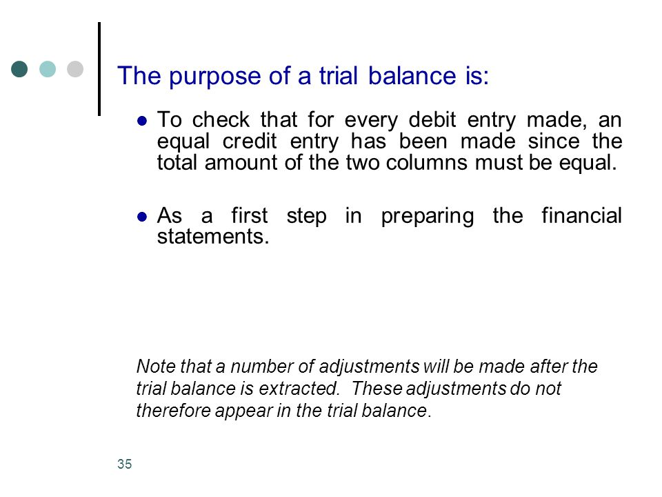 The purpose of a trial balance is: