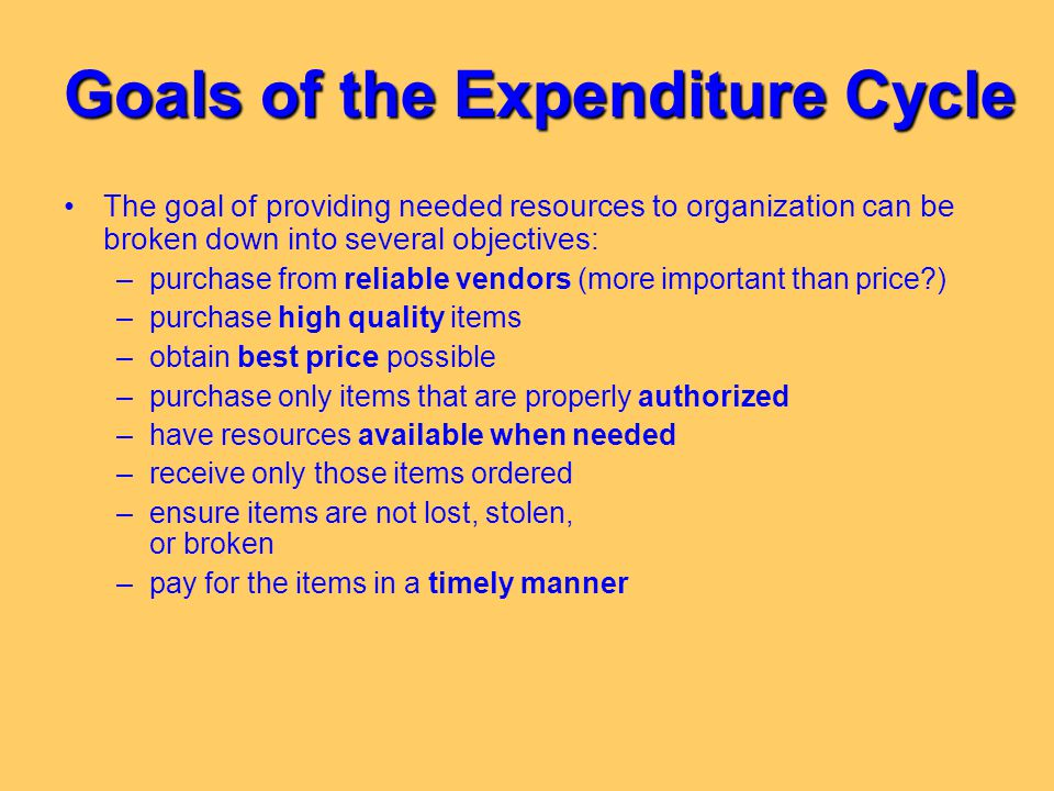 Goals of the Expenditure Cycle